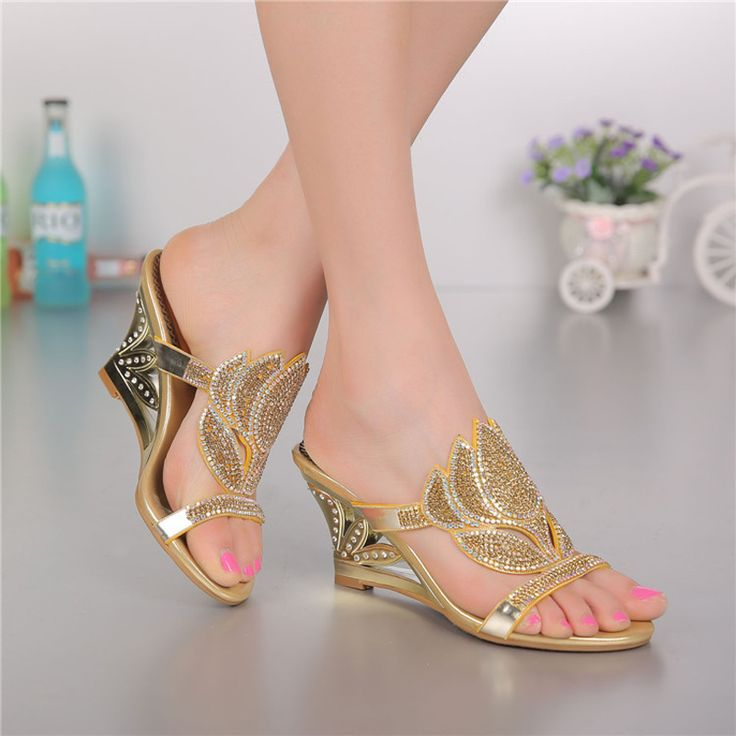 women shoes Rhinestone wedges sandals genuine leather casual slippers shoes for ladies Leisure Crystal women sandals GS-T005GDP
