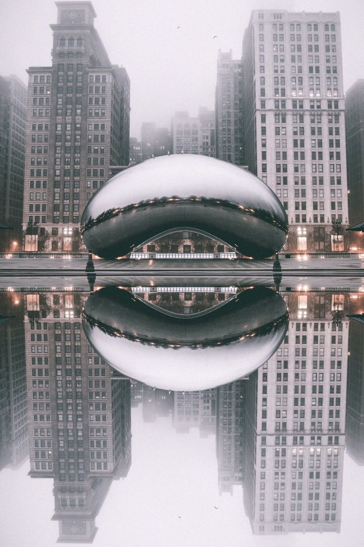 "Diverge. Cloud Gate, (nicknamed ""The Bean"") in Millennium Park, Chicago, Illinois, photo by Daniel Lewis"
