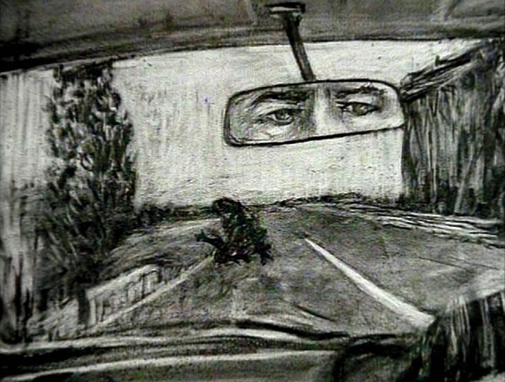 William Kentridge. I like that all of his works seem as if they are occurring in the present moment. Especially this one.
