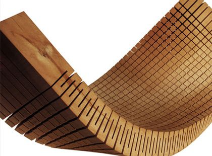 Dukta- Natural Skin, flexible wood and wood materials. Through the cuts, the material receives nearly textile properties