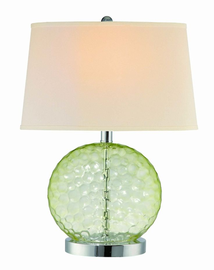 Lite Source LS-21352L/GRN Vatten Table Lamp, Chrome And Light Green Glass with White Fabric Shade - - Amazon.com