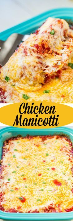 Easy Chicken Manicotti - Pasta shells stuffed with chicken, coated in red sauce, and smothered with loads of melted cheese!! Pure comfort food that's packed with flavor that the whole family will love!!