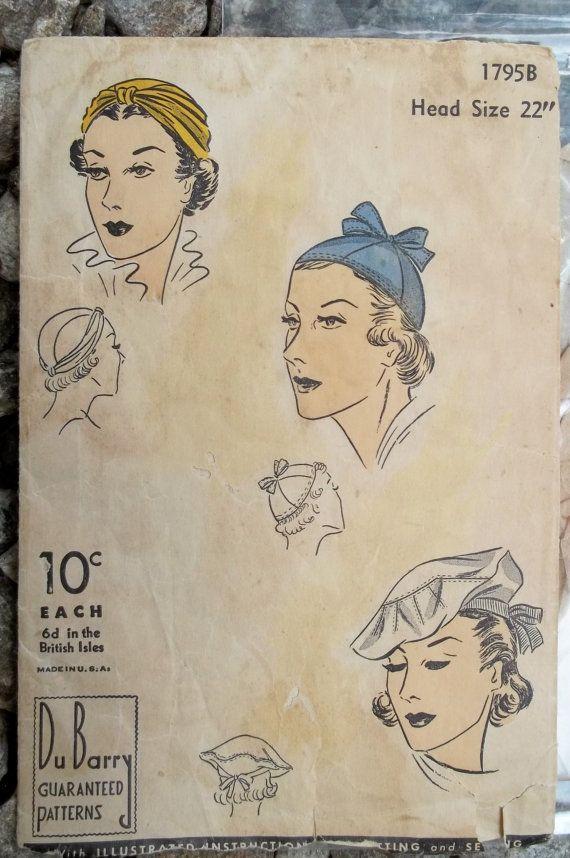 1930s Vintage Women's Hats Pattern Du Barry by PatternJones, $99.00
