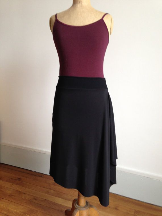 Beautiful asymmetric tango skirt black cascade by BellaTango