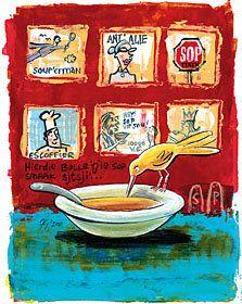 Ek skryf oor Sop in Sarie Kos. Illustrasie Frans Groenewald