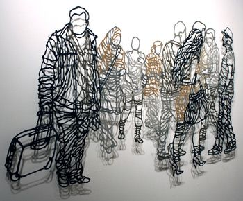 Handmade Paper Pulp Drawings by Miriam Londoño. Trekkers No. 1 - 2009