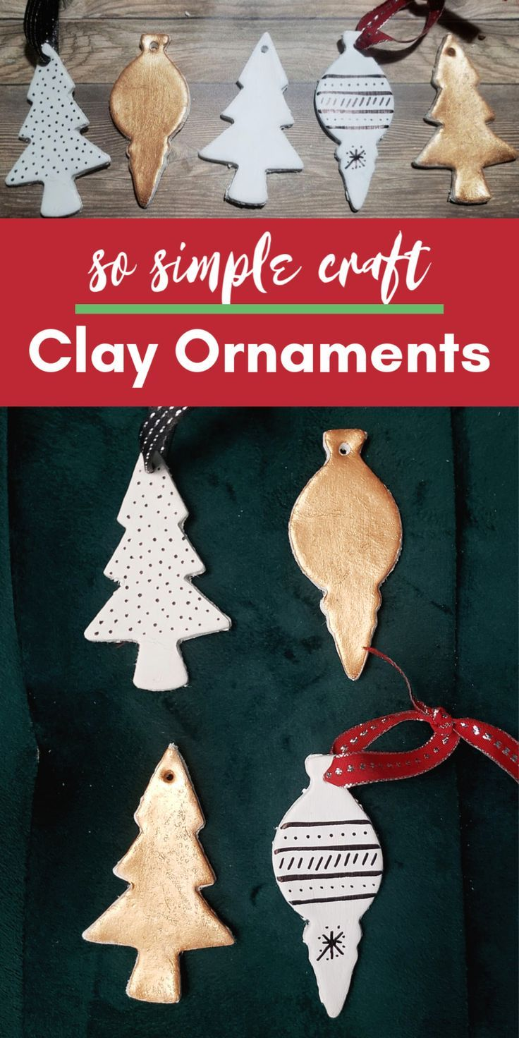 Easy Craft For Christmas Diy Clay Ornaments For The Tree Clay Ornaments Christmas Crafts Easy Christmas Crafts