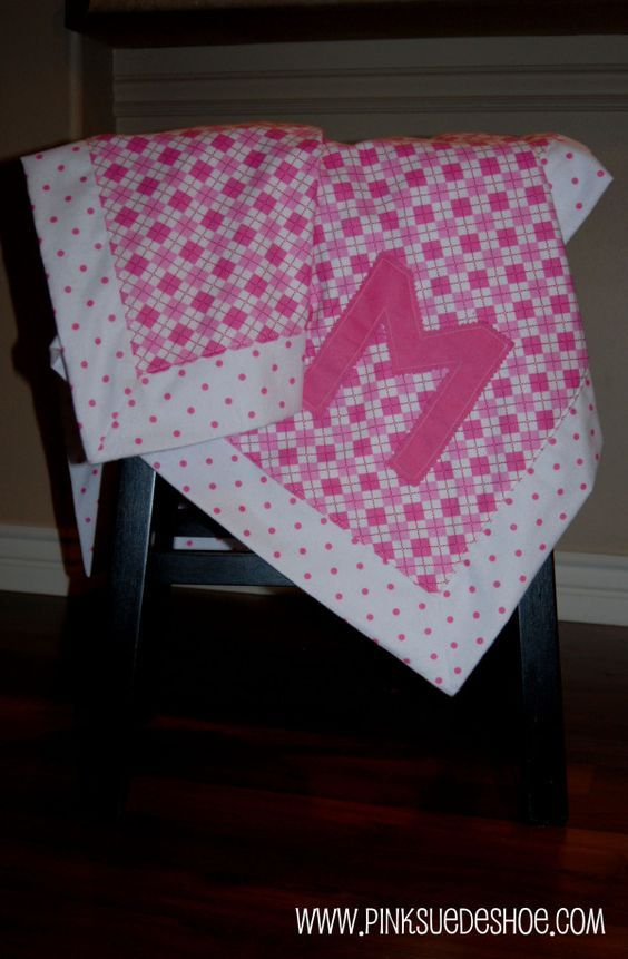Monogrammed Baby Blanket with Mitered Corners