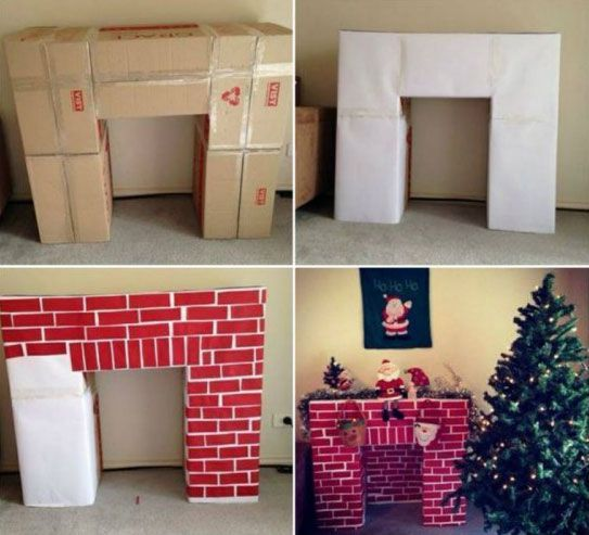 Build a cardboard fireplace to hang your Christmas stockings