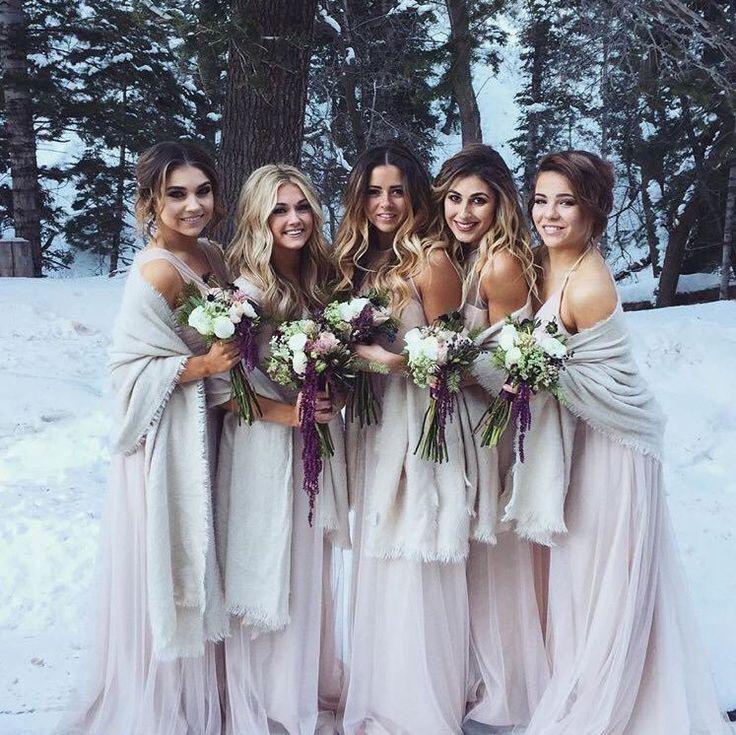 Winter wedding bridesmaids