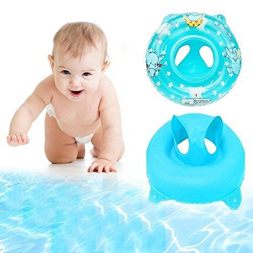 Eonkoo Summer New Baby Swimming Pool Float Seat Boat Inflatable Swimming Rings Pvc Fabric Handle Safety Seat Lifebuoy for Toddler Children Sunshade Swim Toy Set *** See this great product.