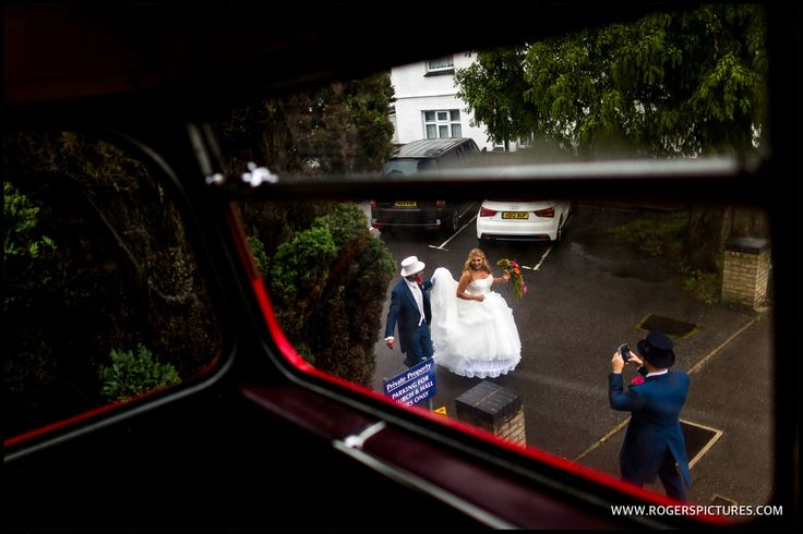 Vicky and Eddie about to board the wedding bus as man and wife -
