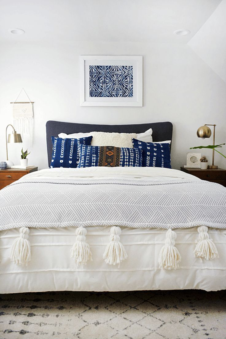 indigo pillows and oversized tassels
