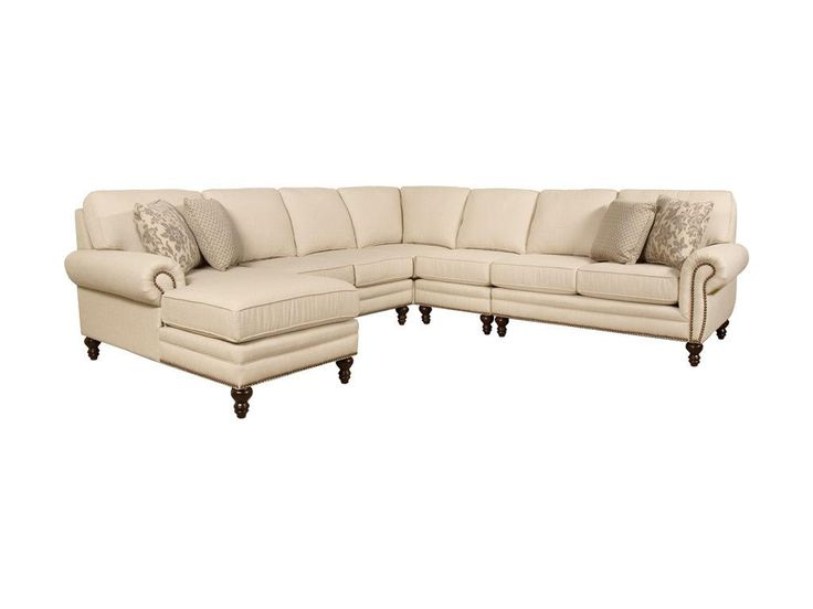 Freshen up your home with the Amix collection from England. Its transitional style is accentuated with a brass nailhead trim, simple rolled arm, and turned wood leg. Make it exclude your personal style by choosing from over 400 fabrics. The best part? It will be yours in 30 days or less! Available as a sofa, loveseat, chair, ottoman, and countless sectional configurations.