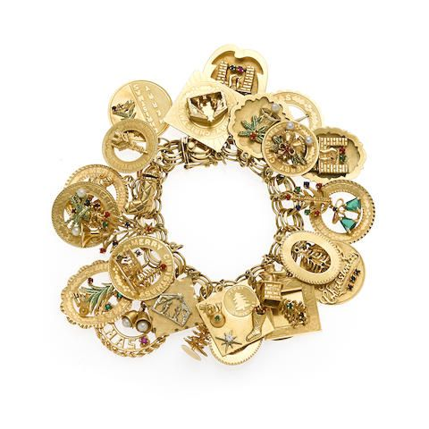 A gem-set, enamel and 14k gold charm bracelet