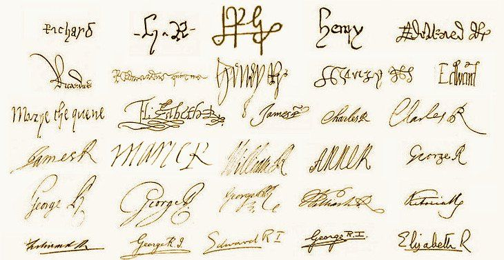 The Signature Of Every English Or British Monarch From King