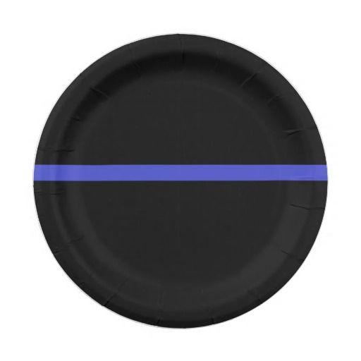 004 Law enforcement thin blue line plates! paper plate