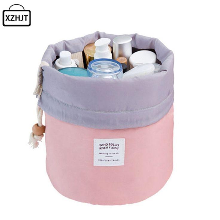 Xzhjt mode 2016 barrel berbentuk drum mencuci travel tas kosmetik membuat tas serut elegan tas makeup organizer tas penyimpanan