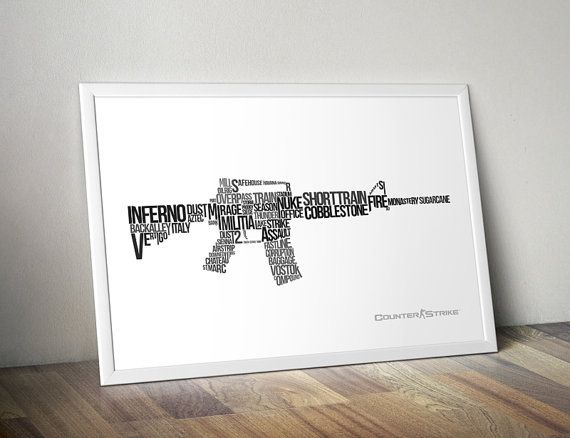 Game room posters - CounterStrike Poster M4A1 Cool Typographic by AllGeekyPrints, $4.99