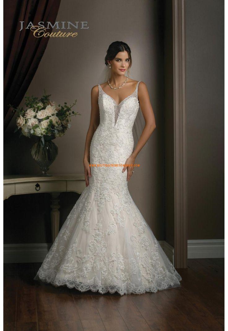 Robe de mariée sirène Tulle Traine Courte Luxueux Col En V