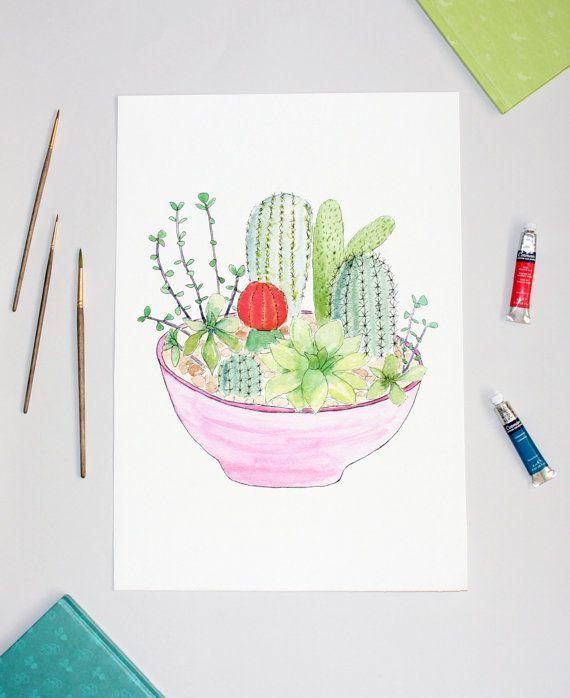 Cactus Wall Art Print, Cacti Illustration, Watercolour Cactus Garden Artwork, Botanical Art, A3 Print