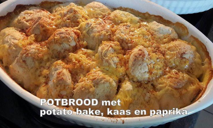 POTBROOD met potato bake, kaas en paprika Smeer jou bak lekker dik met botter Maak bolletjies en pak in jou bak Neem 1/2 pakkie potato bake en 3/4 koppie melk Meng en gooi bo-oor Bak vir 40 na 45 m…