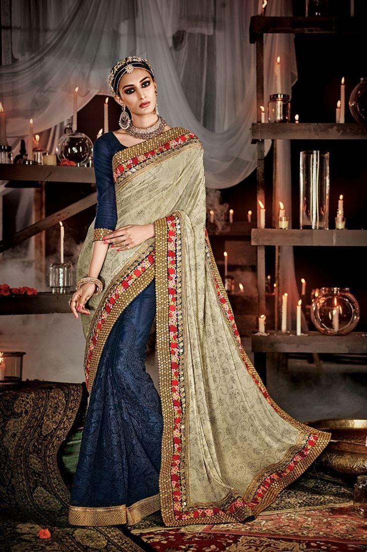 Designer Sarees online shopping in USA UK Canada|Buy Indian graceful net blue patch border work desig