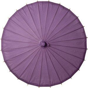 Bellflower Purple 32 Inch Paper Parasol by Luna Bazaar. $10.95. This parasol is 32 inches in diameter and has a 25 inch bamboo stem with a carved wooden handle. It is made of colored rice paper and has a matching paper-covered finial. Our parasols are designed principally to provide shade from the sun. They can be used as colorful, protective fashion accessories on sunny days. They're also beautiful as home decor (they look especially good when backlit!) and as par...