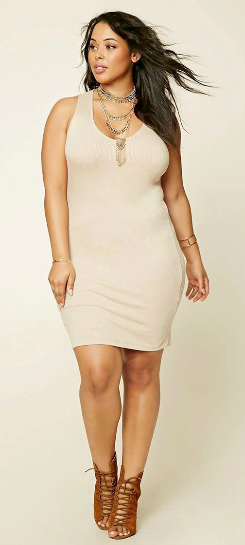 Plus Size Ribbed T-Shirt Dress