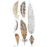 """Gold & Silber & Schwarz Metallic Federentwurf Tattoo, Tattoo-Größe: 6.69 """"x3.94"""""""