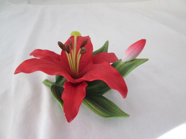 Andrea by Sadek Red Lily Flower  & Bud Porcelain Figurine