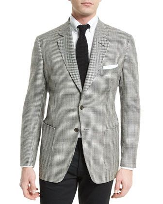 O\'Connor+Base+Houndstooth+Silk-Blend+Sport+Jacket,+Black/White++by+TOM+FORD+at+Neiman+Marcus.