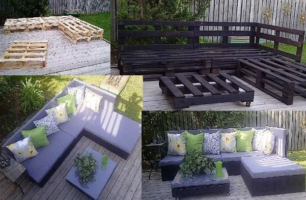 Great Patio Furniture Idea you could use weather-proof fabric to cover up the wood pallets if you did not want them exposed