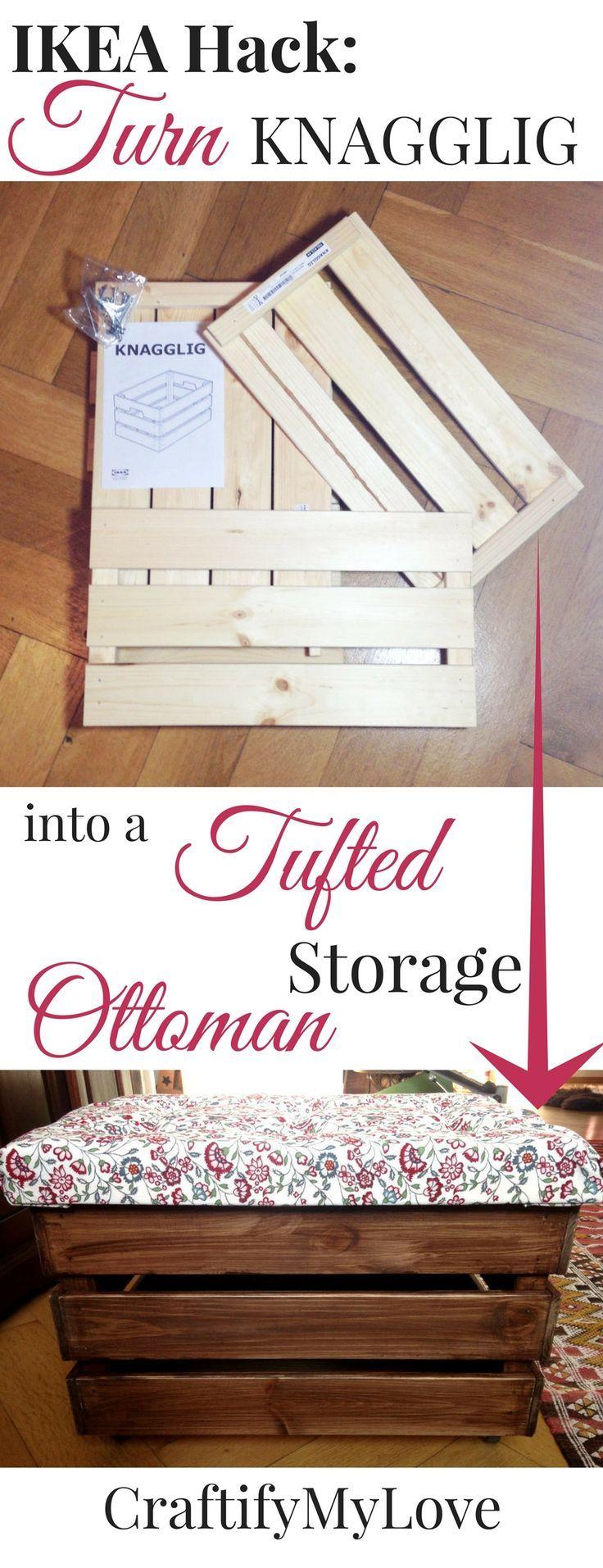 IKEA Hack – Tufted Storage Ottoman