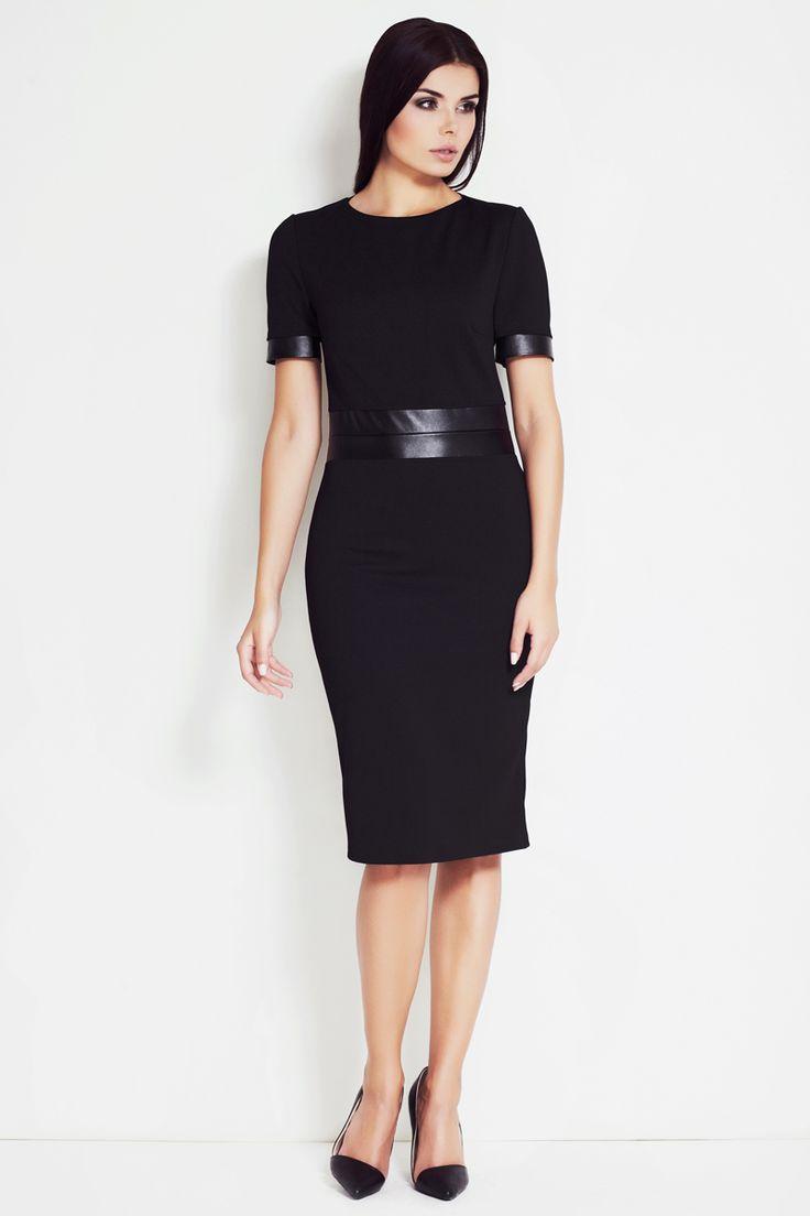 fashion office neagra feminina,eleganta,cu lungime pana la genunchi,cu maneci scurte  #rochieoffice #fashionstyle #rochiebiroueleganta