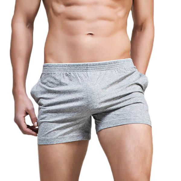 SUPERBODY Mens Casual Solid Color Breathable Low Waist Pajamas Boxers Leisure Fitness Arrow Shorts at Banggood