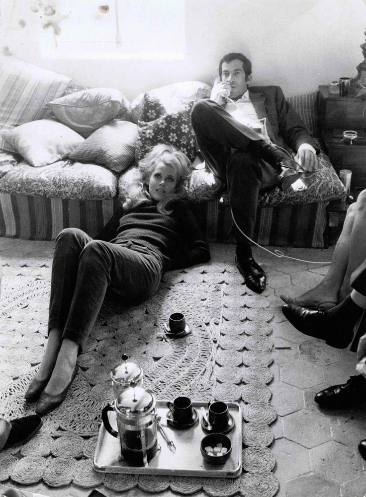Jane Fonda & Roger Vadim at home, 1967