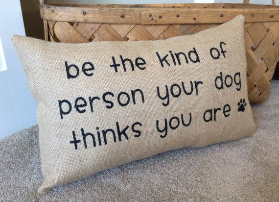 Burlap Dog Pillow  Gift for Dog Lover  by JoaniesFavoriteThing