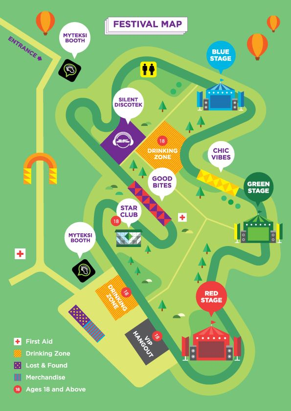 flat colors festival map no 3D