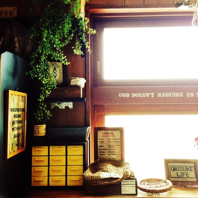 Orieさんの、tsubuちゃんのリメ缶,手作り,FAKEGREEN,いなざうるす屋さん,男前,小さなお家,棚,のお部屋写真