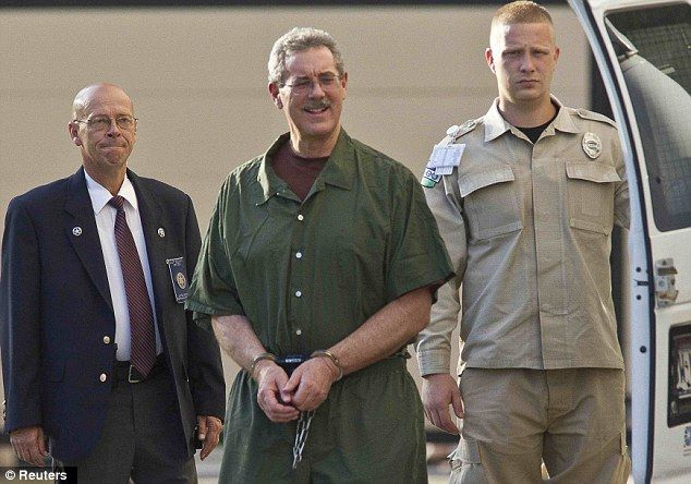 Jailbird: Convicted financier Allen Stanford arrives at Federal Court in Houston for sentencing
