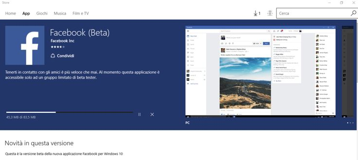 Facebook beta per Windows 10