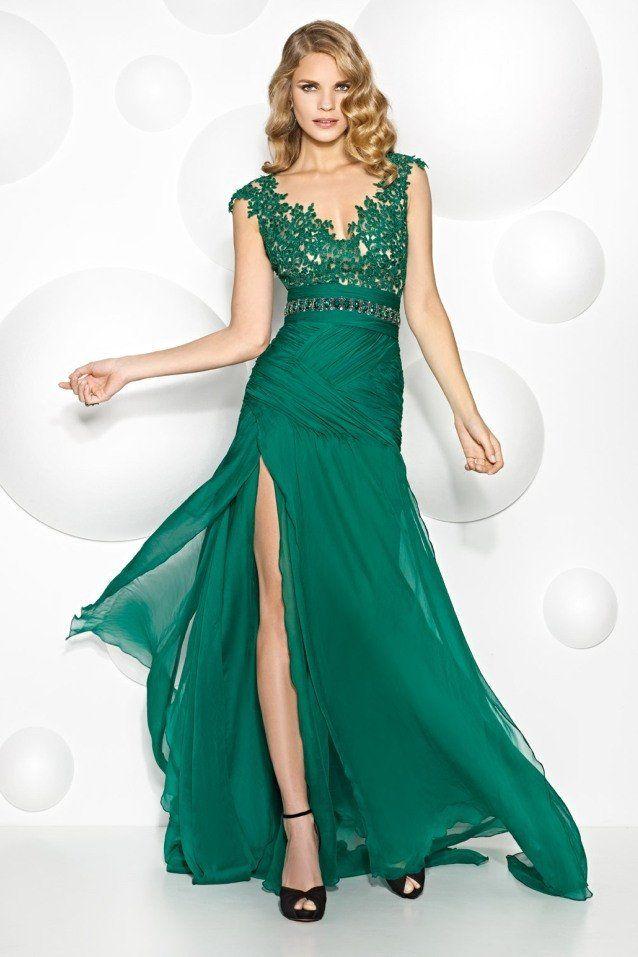 Vestido verde esmeralda en guipur modelo 6885