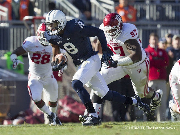 PENN STATE – FOOTBALL 2012 – Penn State wide receiver Allen Robinson sprints through the Indiana secondary for a 53-yard touchdown catch. Robinson finished with 10 catches and 197 yards and set a new school record for receptions in the Nittany Lions 45-22 win.
