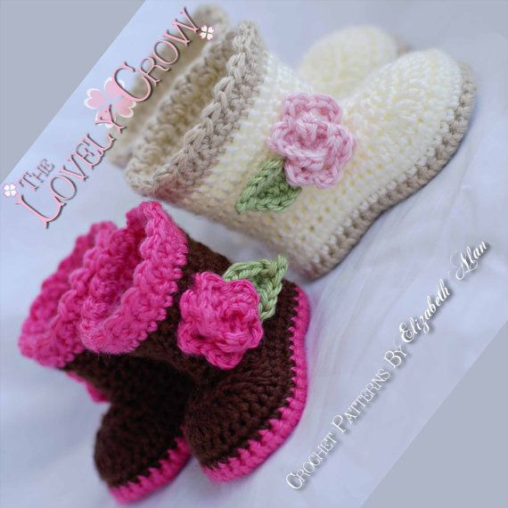 Wellies Crochet Pattern booties for SUGAR and SPICE by ebethalan