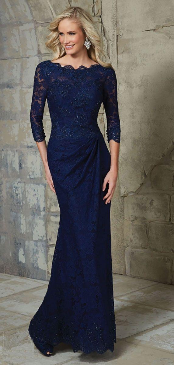 Long slash neck lace dress 28770 - Catherines of Partick
