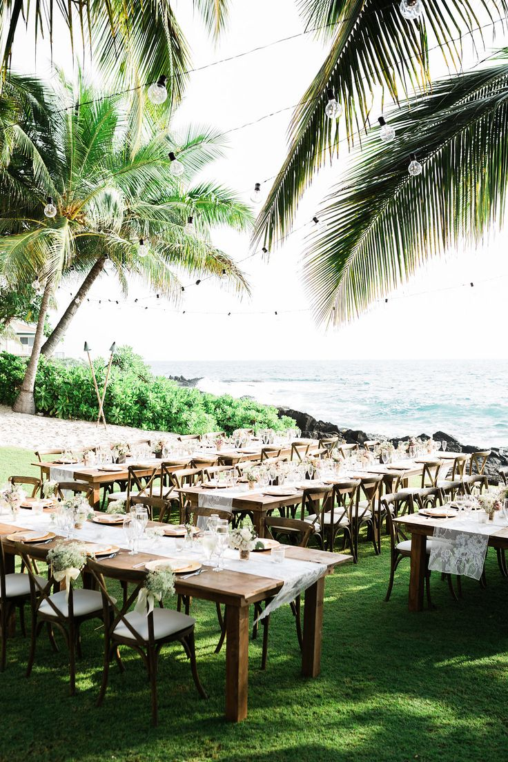 beach wedding reception - photo by Casto Photography and Cinema - http://ruffledblog.com/eco-friendly-hawaiian-beach-wedding
