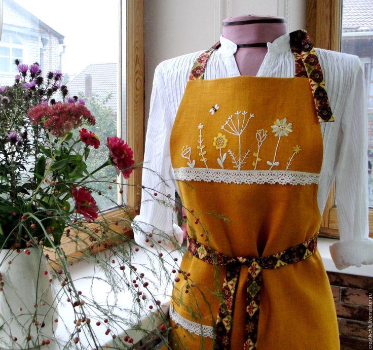 Купить Фартук Травы - желтый, золотистый цвет, лен, кухня, фартук, фартук ручной работы