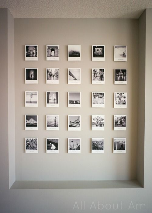 Polaroid style travel gallery for home office.
