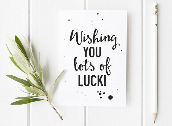 Good Luck Card - Typography Good Luck Card Stylish Monochrome Typographic Design…